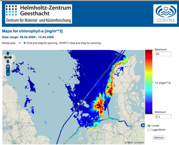 The example depicts a combination of FerryBox data and MERIS data for chlorophyll. -image: screenshot from codm.hzg.de / Hereon-