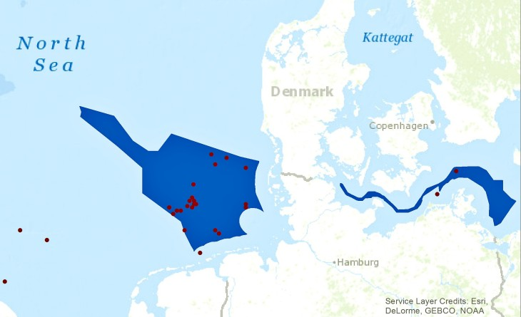 Offshore wind farms (red dots) planned with coastDat data in the North Sea and Baltic Sea