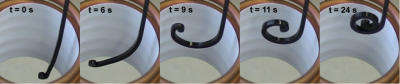 In 5 pictures the temporarily fixed form (the rod) retracts into the original form (the spiral) in the magnetic field of a ring inductor.